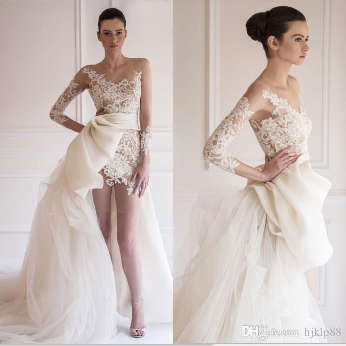 2015 New Arrival Maison Yeya Beach Wedding Dresses Sheer Bateau Illusion Long Sleeve Lace Tulle