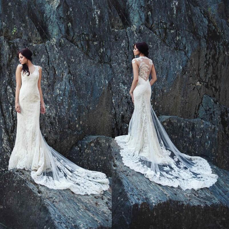2015 new arrival sheer backless sheath wedding dresses for Backless sheath wedding dresses