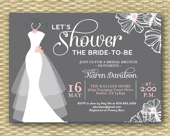 Wedding dress bridal shower invitation dress on hanger any for Wedding dress bridal shower invitations