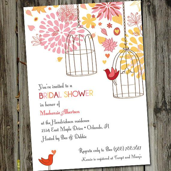 Mariage - Sweet Birdie Bird Bridal Shower Invitation, Bird Cage Invitation, Bird Cage Invite, PRINTABLE, Wedding Shower Invitation