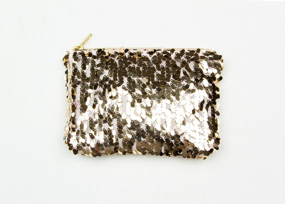 Mariage - Petite Gold Sequin Clutch. Gold Wedding Clutch. Metallic Gold Clutch. Small Gold Pouch. Gold Evening Bag
