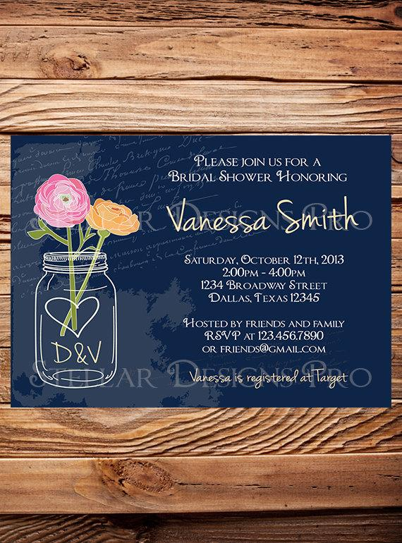 Mariage - Vintage Mason Jars Bridal Shower Invitation,Flowers Mason Jar, Brown, Navy, Purple, Yellow, Mason Jar Wedding Shower Invitation - Item 1181