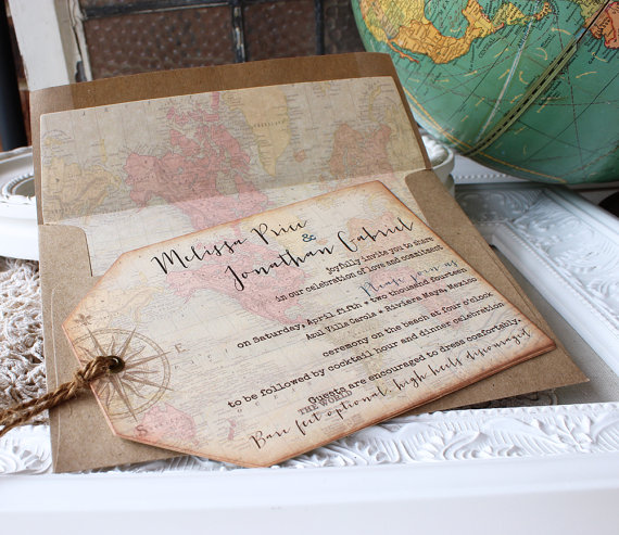 World Map Wedding Invitations.Vintage World Map Destination Wedding Invitation Compass Hinged