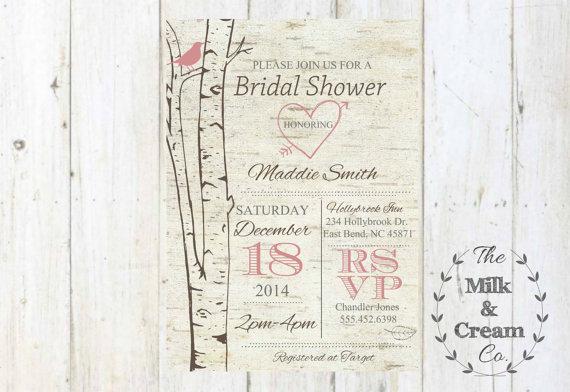 زفاف - Rustic Birch Tree Bridal Shower  Invite,  Invitation with Blush Pink Bird Birch Tree, Simple Casual, Printable Invites,
