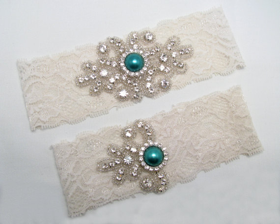 Mariage - Green Wedding Garter, Crystal Rhinestone Bridal Garter, White / Ivory Keepsake / Toss Garter Set, Peacock Garter, Custom Garter Belt