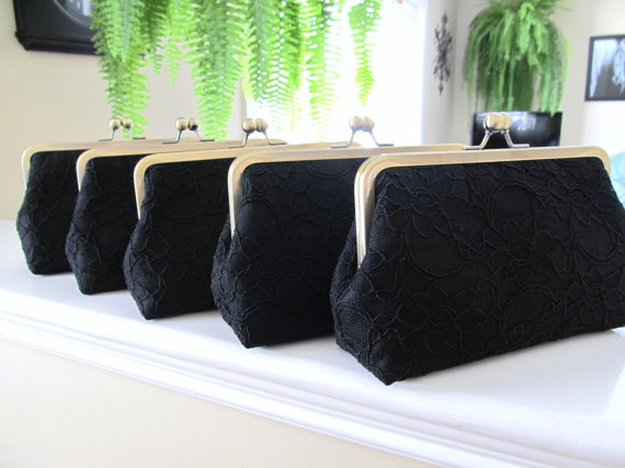 Mariage - SALE, 20% OFF, Bridal Silk And Lace Clutch Set Of 5 Black,Bridal Accessories,Wedding Clutch,Bridesmaid Clutches