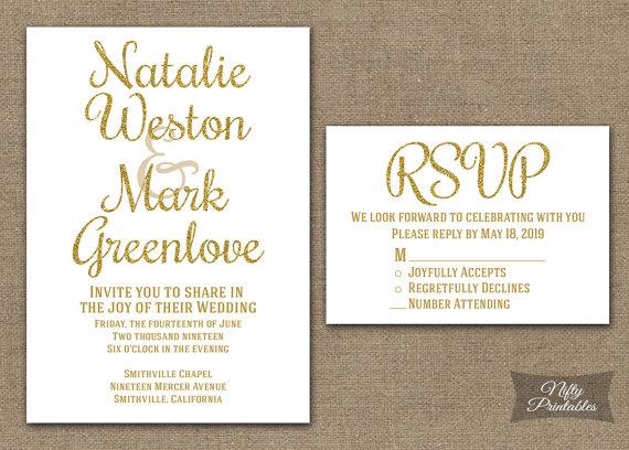 Gold White Wedding Invitation Printable White Gold Wedding Invites