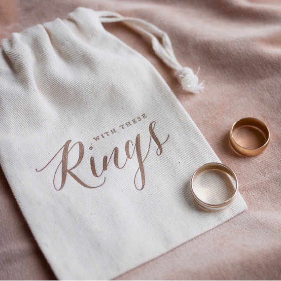 Rustc Gold Calligraphy Wedding Ring Bearer Bag Pillow Alternative