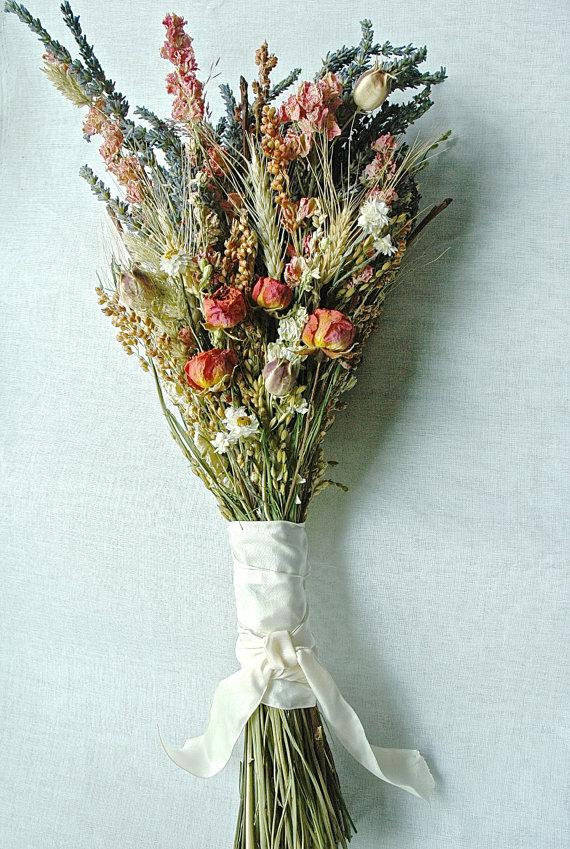 Mariage - Fall Wedding  Brides Bouquet of Lavender Roses Larkspur Wheat and other dried flowers