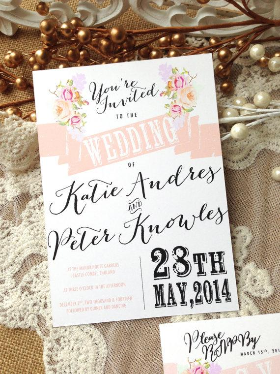 Gentil RUSTIC WEDDING INVITATION Suite   Unique, Custom Designed Wedding Invitation  Suite. Shabby Chic, Rustic And Vintage Inspired.
