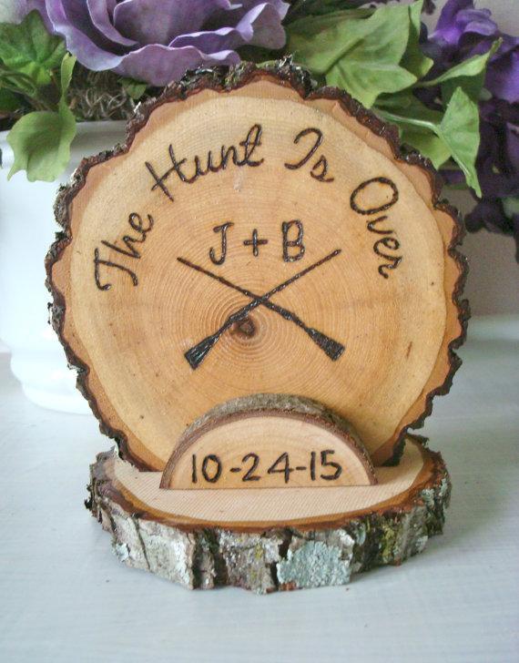 Rustic Wedding Cake Topper Hunt Hunting Wood Burned Guns Customized