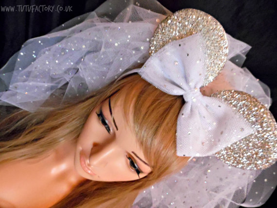 Design Your Own Disney Inspired Minnie Mouse Ears Minnie Mouse Veil Sparkle  Bachelorette Veil Bride To Be 565dadc87e3