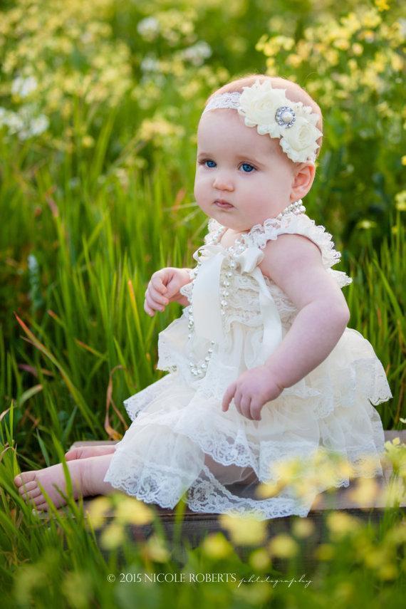 ivory vintage lace dress girls photo shoot baby lace dress