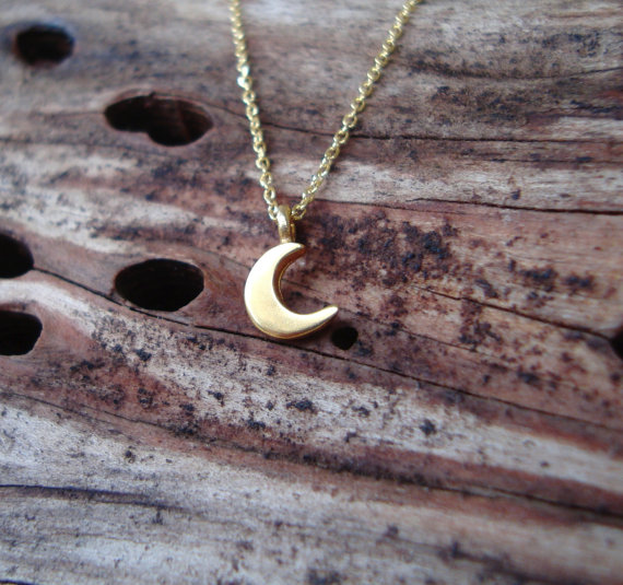 Mariage - Gold Moon Necklace 14k solid Gold Tiny Crescent Moon Pendant Gift for Her Anniversary present birthday Gift bridal  Dainty necklace