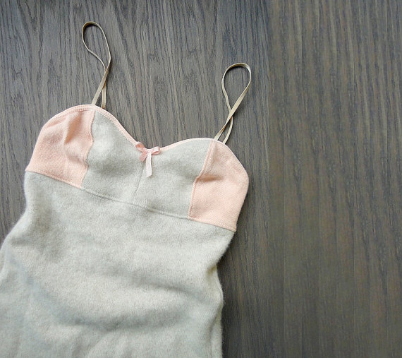 زفاف - Cashmere playsuit underwear,  pastel peach lingerie, wool lingerie, one piece underwear. More colors. Made to measure. washable.