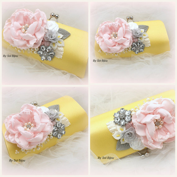 زفاف - Clutch, Bridesmaids, Maid of Honor, Wedding, Mother of the Bride, Handbag, Purse, Yellow, White, Silver, Pink, Brooch, Pearls, Garden