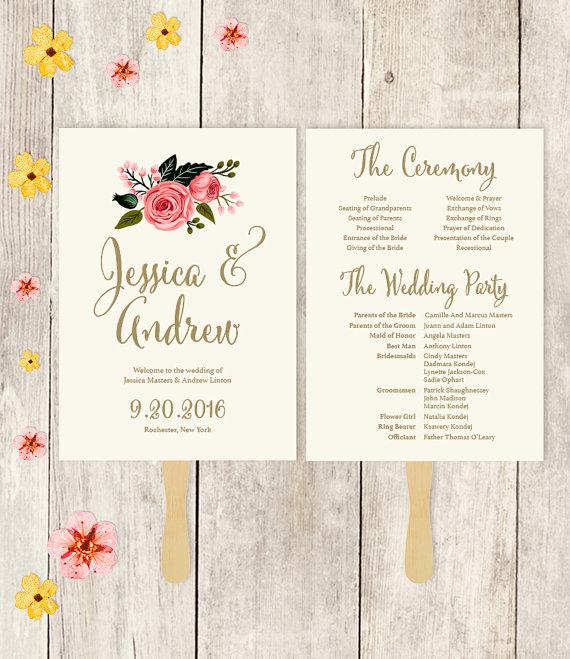 Wedding Program Fan Printable Wedding Fan Watercolor Flower