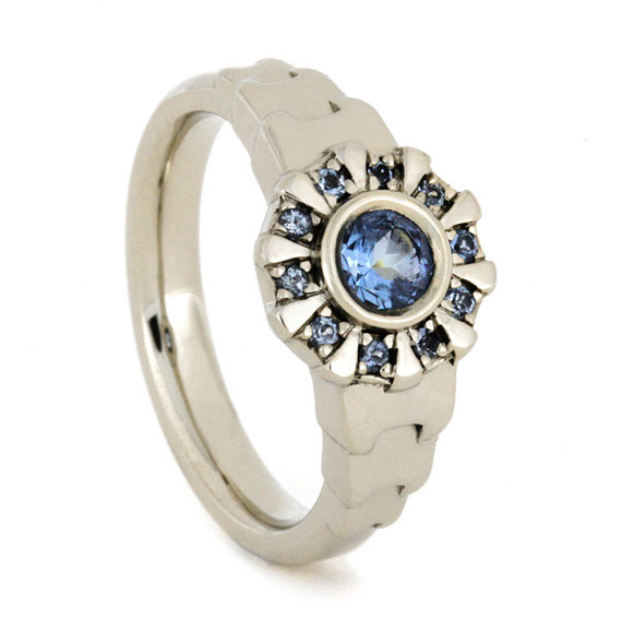 Wedding - Iron Man Arc Reactor Inspired Ring With Aquamarine Center, 14k White Gold Engagement Ring