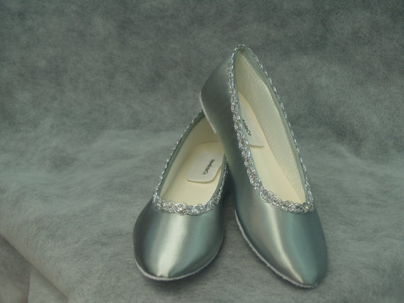 Wedding - Silver Wedding flats Shoes Hand dyed and trimmed