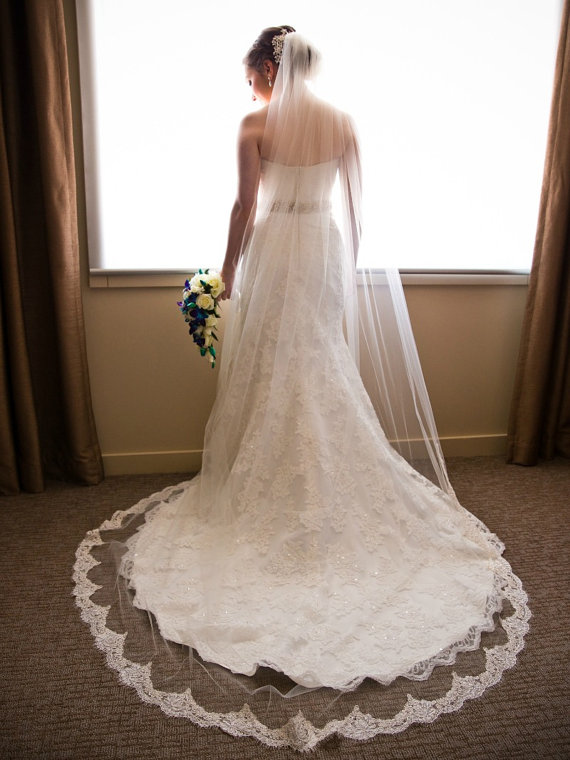 Ivory Cathedral Length Lace Veil Beaded French Alencon Wedding Off White Bridal Chapel 72 Width
