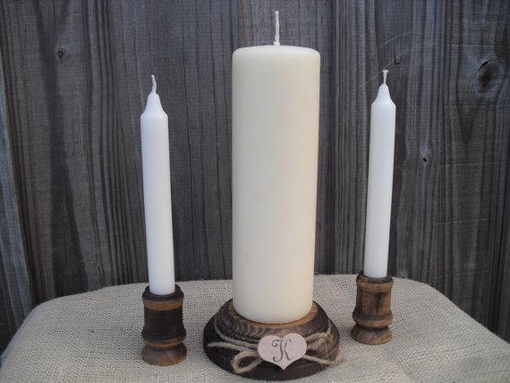 زفاف - Wood Unity Candle Set Rustic Monogram Wedding Candle - Item 1021