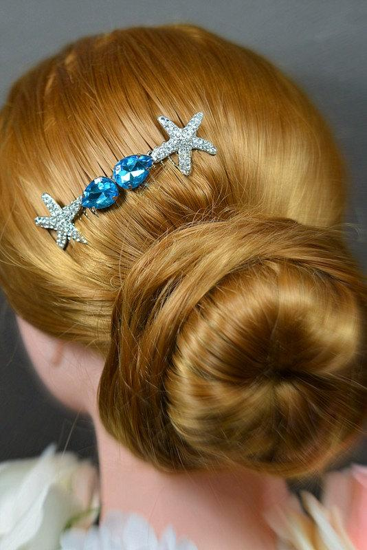 Mariage - Something blue,turquoise teal blue,beach wedding,silver /gold rose gold starfish Bridal Wedding Hair Comb,Wedding Hair Accessories,Headpiece