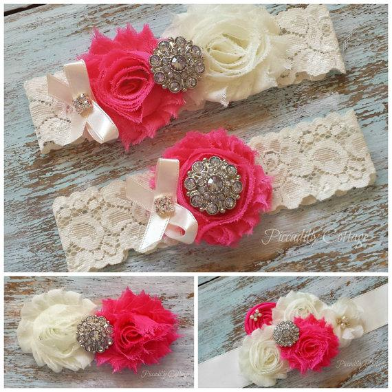 Mariage - Wedding Garter Set / Bridal Sash / Bridal Hair Clip / BRIDAL COMBO PACKAGE Hot Pink and Ivory / All three Items Included!