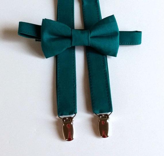 Mariage - Dark Teal Bowtie and Suspenders Set - Infant, Toddler, Boy