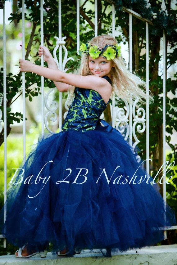 Wedding - Navy and Apple Lace Wedding Flower Girl Dress   Wedding Flower Girl Tutu Dress   All Sizes Girls