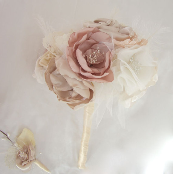 "Mariage - Rustic Wedding Bouquet Natural Bouquet Handmade Fabric Flowers Bouquet 8"" shabby chic bouquet Vintage Lace Nude Blush Pink Champagne lace"