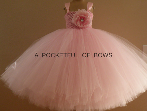 Mariage - Blush Flower Girl Dress, Long Tulle Dress, Toddler Ball Gown, Girls Formals