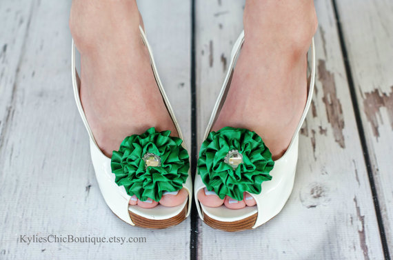 Mariage - Green Shoe Clips - Wedding, Bridesmaid, Date Night, Party, Everyday wear