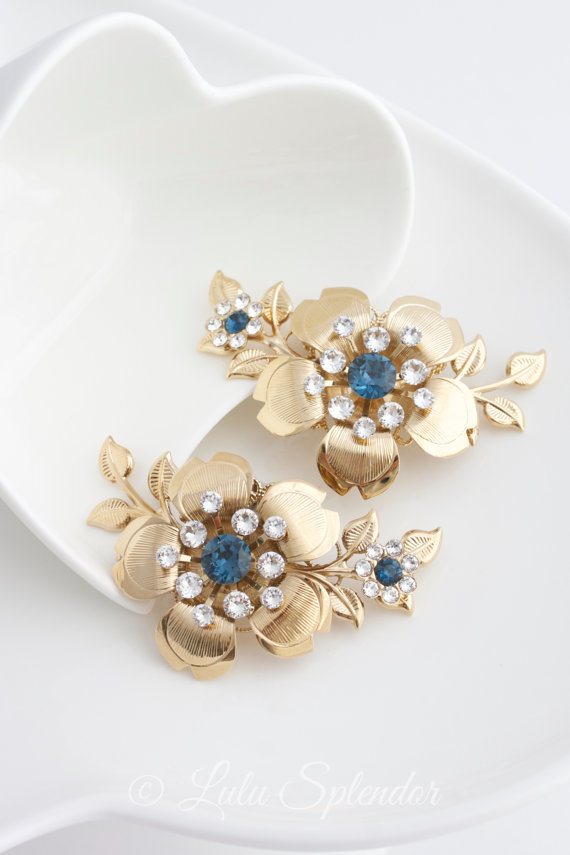 Mariage - Gold Bridal Shoe Clips Montana Blue Crystal Sapphire Flower and Leaves Wedding Shoe Clips LISSE