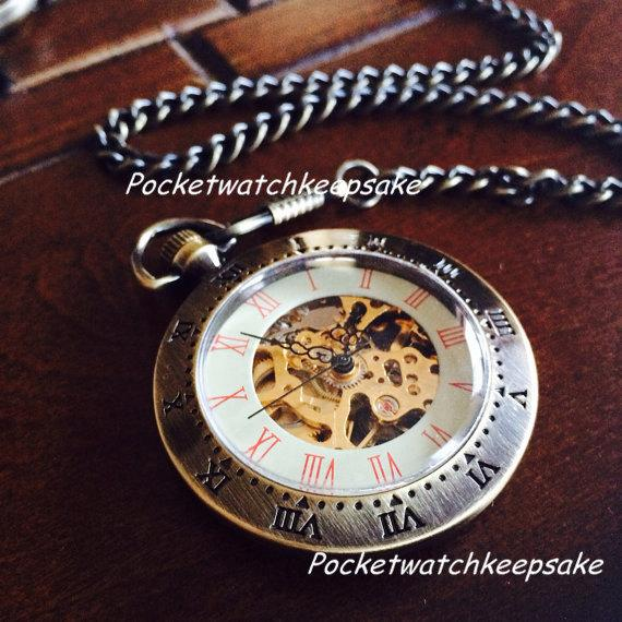 Свадьба - Set of 3 Groomsmen pocketwatch  Simplicity open face pocket watch ships from Canada