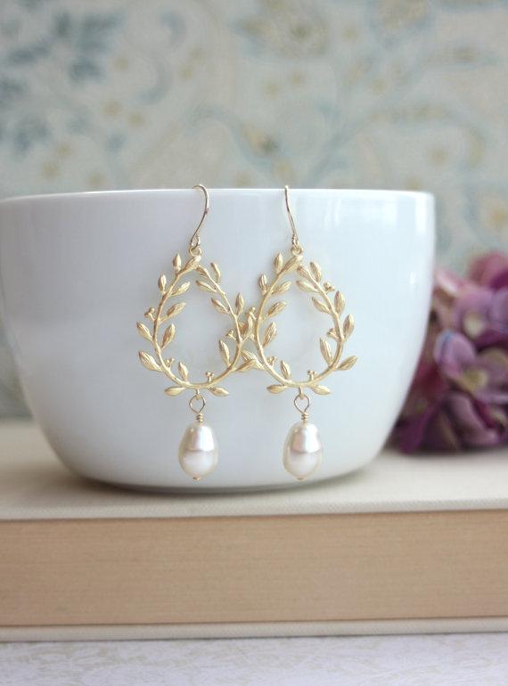 Laurel Wreath Cream Ivory Pearl Drop Gold Chandelier Earrings ...