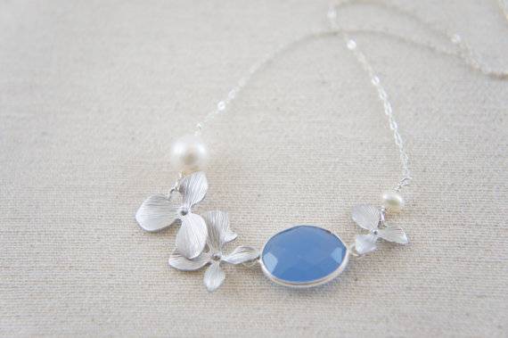 Hochzeit - Silver orchid flower necklace with periwinkle blue Chalcedony with pearl