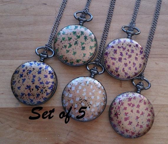 Hochzeit - Set of 5 Bridesmaid Handpainted Pocket Watch Necklaces Lockets Bridal Party Jewellery Wedding Gift Bespoke OOAK