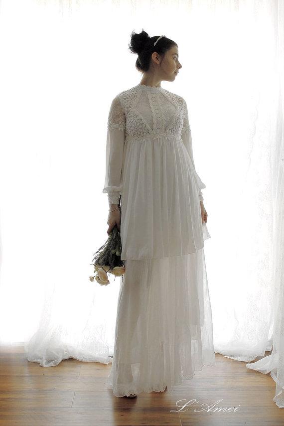 Mariage - Custom made Long sleeve Keyhole Back 2 Piece Lace Wedding Dress -Princess Kathryn -AM1982300