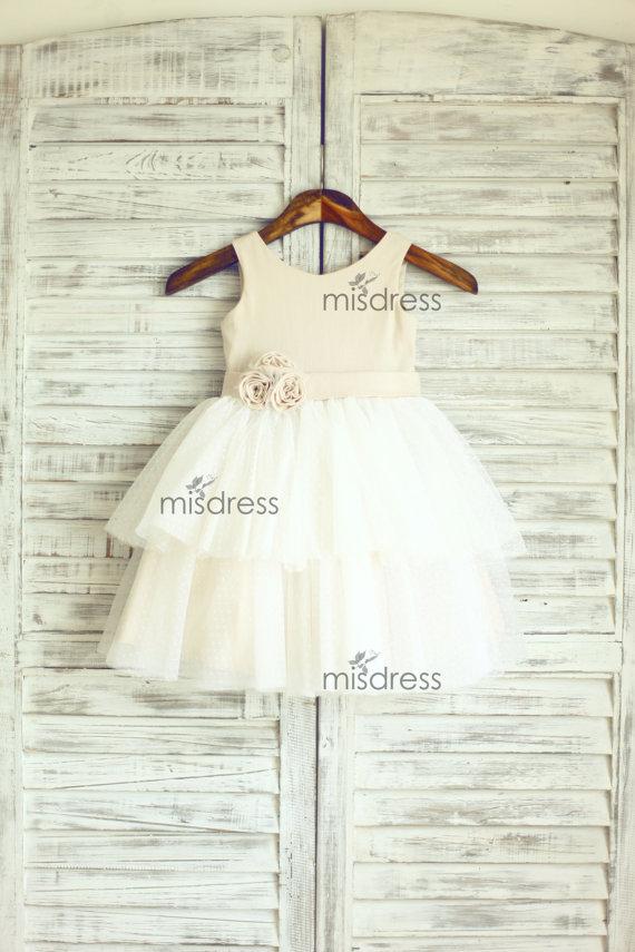 Mariage - Linen Polka Dots Tulle Flower Girl Dress Wedding Easter Junior Bridesmaid Baptism Baby Infant Children Toddler Kids Dress