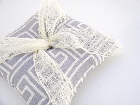 Gray Ring Bearer Pillow, Ivory Ring Bearer Pillow, Gray Wedding Decor, Ring Bearer Pillow ...