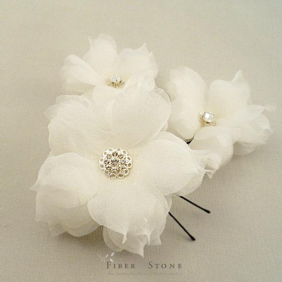 eacd6c059 Weddings Hair Accessories, Wedding Flower hair pins, Wedding Hair Flowers  with Swarovski Crystal Rhinestones, Ivory Handmade Silk Flowers