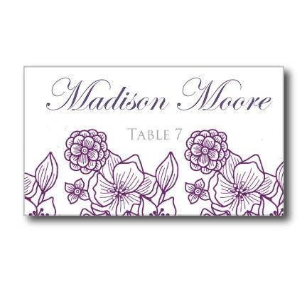 Wedding Place Card Template Flowers Purplesilver Instant