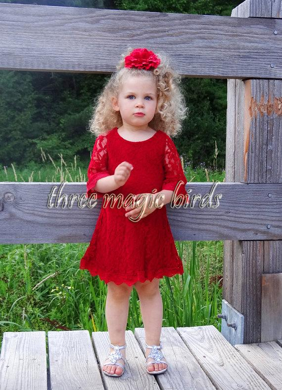 زفاف - SALE Lace Flower Girl Dress-Christening Baptism-Long Sleeve Dress-Destination Wedding-Country Flower Girl-Bridesmaid-Christmas-Communion