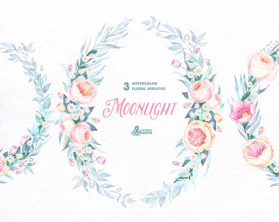 Wedding - Moonlight: 3 Watercolor Wreaths, frames, popies, roses, floral wedding invitation, greeting card, diy clip art, flowers, blue, quote, boho