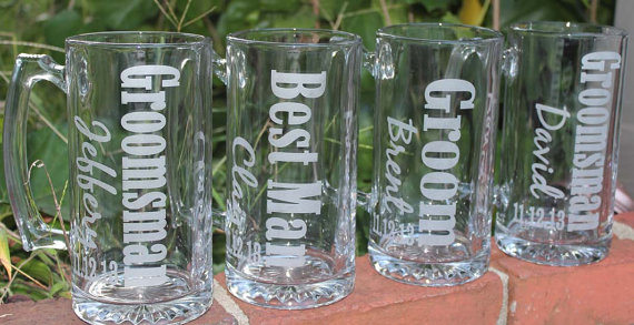 1 Personalized Groomsman Gift Etched Beer Mug Great