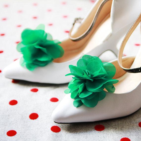 Hochzeit - Forest Green Chiffon Flower Shoe Clips - Wedding Shoes Bridal Couture Engagement Party Bride Bridesmaid