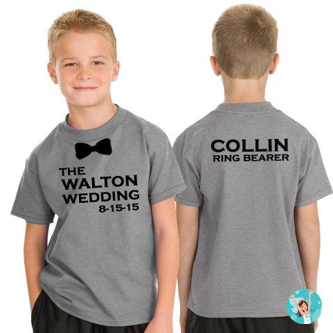 Mariage - Bow Tie Ring Bearer T-Shirt, Ring Security T-Shirt, Personalized Ring Bearer Shirt, Bow Tie T-Shirt