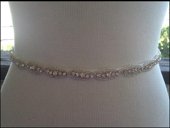 Mariage - Bridal Beaded Sash,Rhinestone Sash,Wedding Sash Belt,Crystal Sash