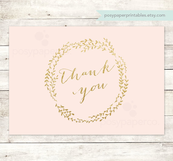 Wedding - pink gold thank you cards printable DIY bridal baby wedding shower blush pink gold glitter wreath thank you cards - INSTANT DOWNLOAD