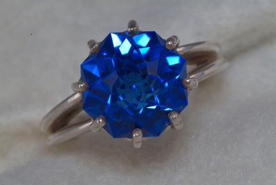 Mariage - Electric Blue Quartz Diamond Alternative Color Engagement Ring 9ct Rose Petal Custom Cut